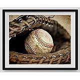 Vintage Baseball in Catchers mit on Vintage Background, Baseball Wall art, Sports Decor, Vintage Baseball Art, Baseball Photography Available as print or canvas.