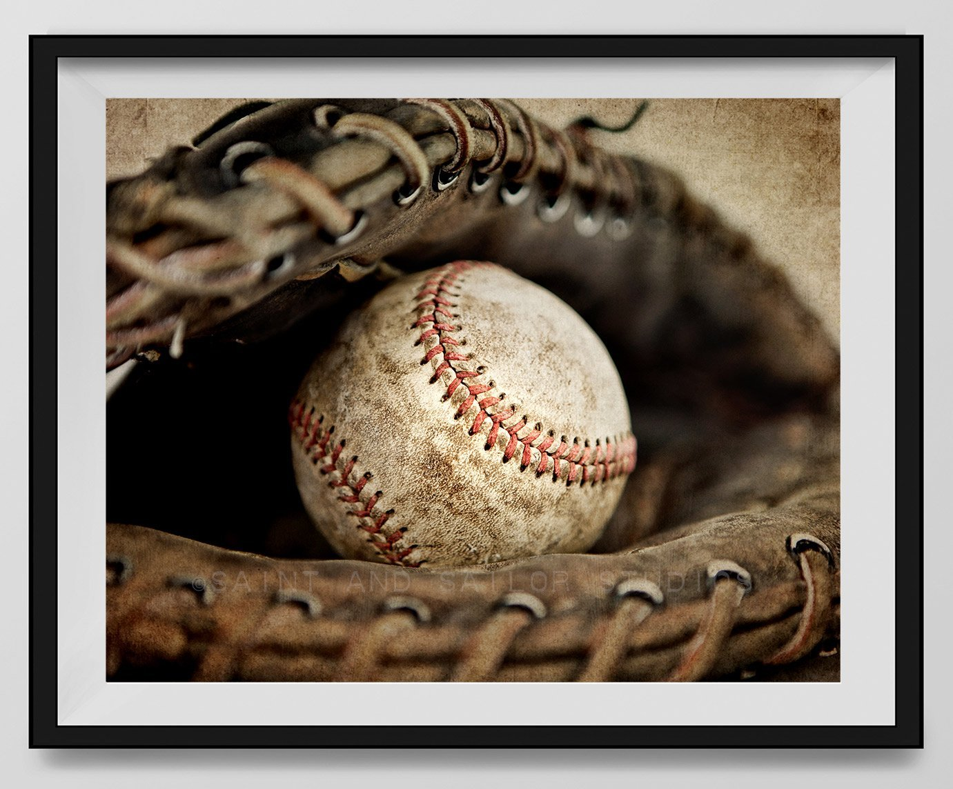 Vintage Baseball in Catchers mit on Vintage Background, Baseball Wall art, Sports Decor, Vintage Baseball Art, Baseball Photography Available as print or canvas. by Saint and Sailor Studios