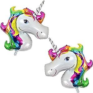 Large Rainbow Unicorn Balloons for Birthday – Pack of 2 | Mylar Foil Unicorn Balloon Decorations Supplies Kit | Great for Unicorn Themed Birthday Party Favor, Baby Shower | Unicorn Mylar Balloons Party Supplies