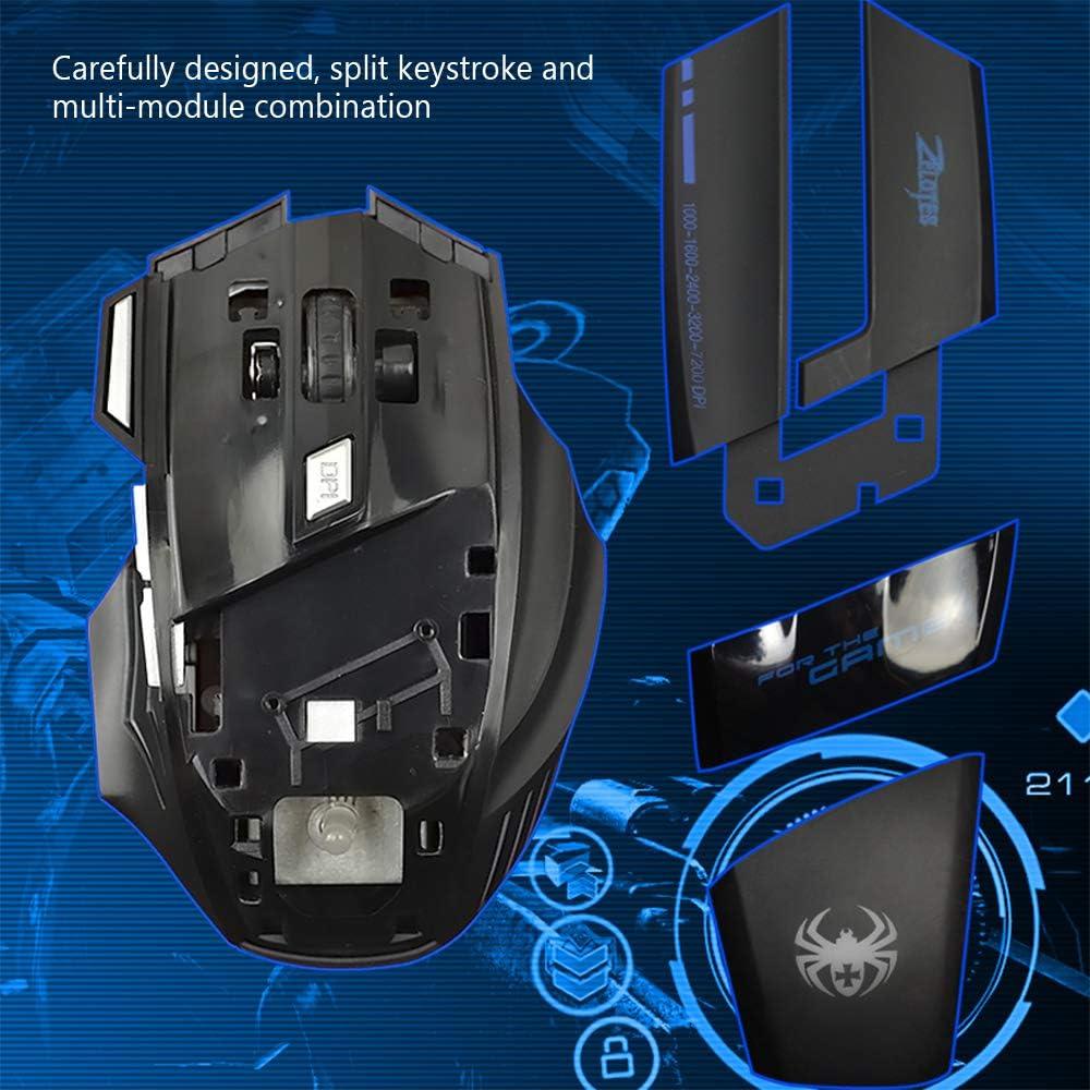 Festnight ZELOTES T-80 Gaming Mouse 7200 DPI Backlight Multi Color LED Optical 7 Button Mouse Gamer USB Wired Gaming Mouse for Pro Gamer