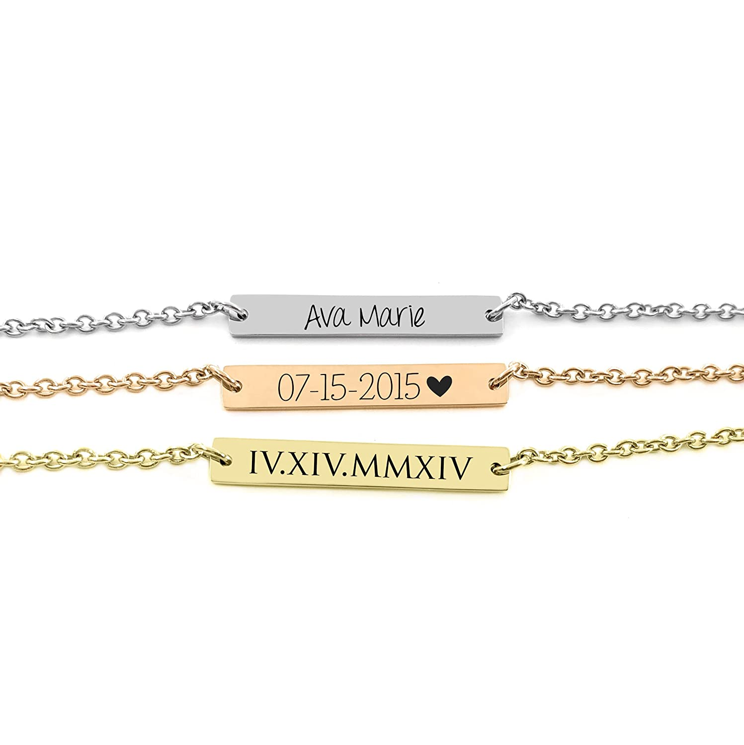Personalized Bar Bracelet - Gold Silver Rose Gold - Girls Bracelet - Bridesmaid Gift - Mother Best Friend