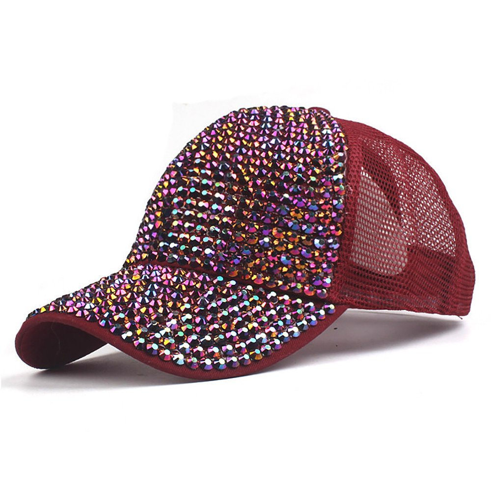 ENGXING Moda Mujer Sombrero de Verano Remache Rhinestone Sombreros Gorra de b/éisbol de Malla de Cola de Caballo Gorra de b/éisbol Casquette///Deporte