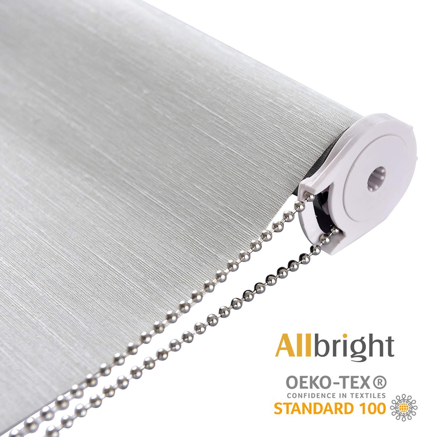 ALLBRIGHT Thermal Insulated 100% Blackout Waterproof Fabric Custom Window Roller Shades Blinds, 35'' W with 95% UV Protection (LightGray, 58'') by ALLBRIGHT