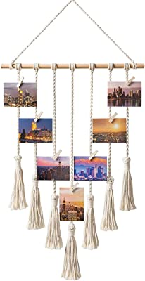 TOOGOO Hanging Photo Display Macrame Wall Hanging Pictures Organizer Home Decor, with 25 Wood Clips