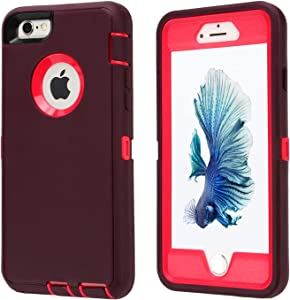 Co-Goldguard Case for iPhone 6/6s,Heavy Duty 3 in 1 Built-in Screen Protector Durable Cover Dust-Proof Shockproof Drop-Proof Scratch-Resistant Shell for Apple iPhone 6/6s 4.7 inch,Purple&Pink