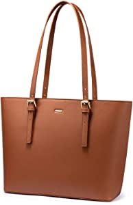 LOVEVOOK Computer Bags for Women Leather Tote Bag Laptop Handbag Work Purse, Brown