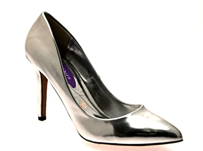 cec54d799ae LORA DORA WOMENS METALLIC POINTED TOE COURT STILETTO HIGH HEELS OFFICE  SMART EVENING PARTY LADIES SHOES