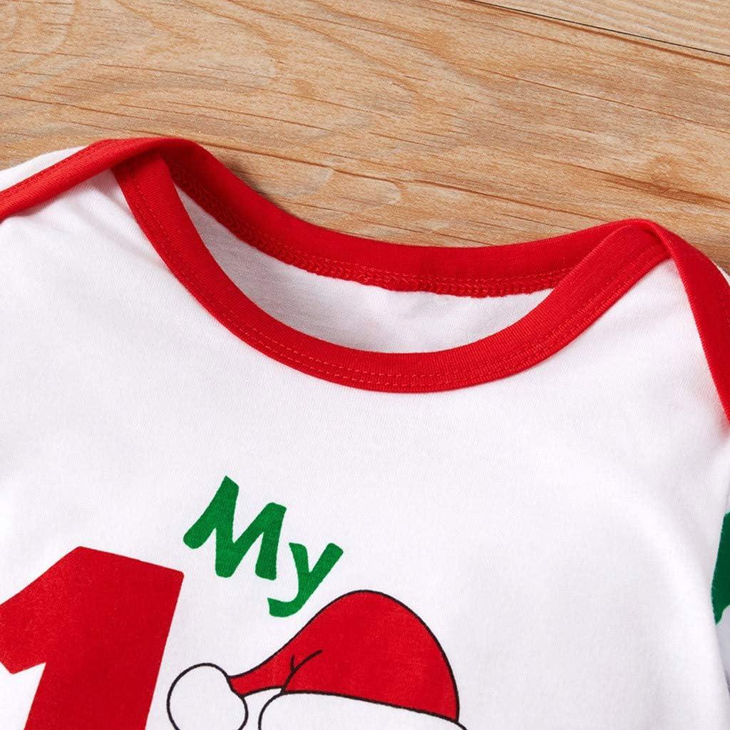 My First Christmas Christmas Cartoon Santa Striped Print Newborn Infant Toddler Baby Boys Girls Romper Jumpsuit Bodysuit Outfits Christmas RomperJumpsuit+Hat