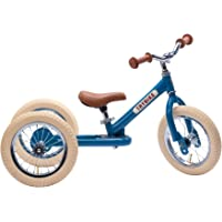 Trybike Vintage Blue Steel 2 in 1 Convertible Balance Bike and Tricycle for 18 Months to 6 Years Boys and Girls…
