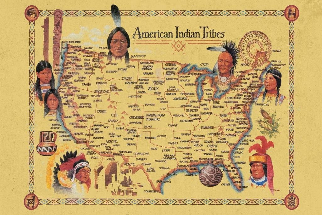 American Indian Tribes at Time of Columbus Arrival Map Cool Wall Decor Art Print Poster 36x24