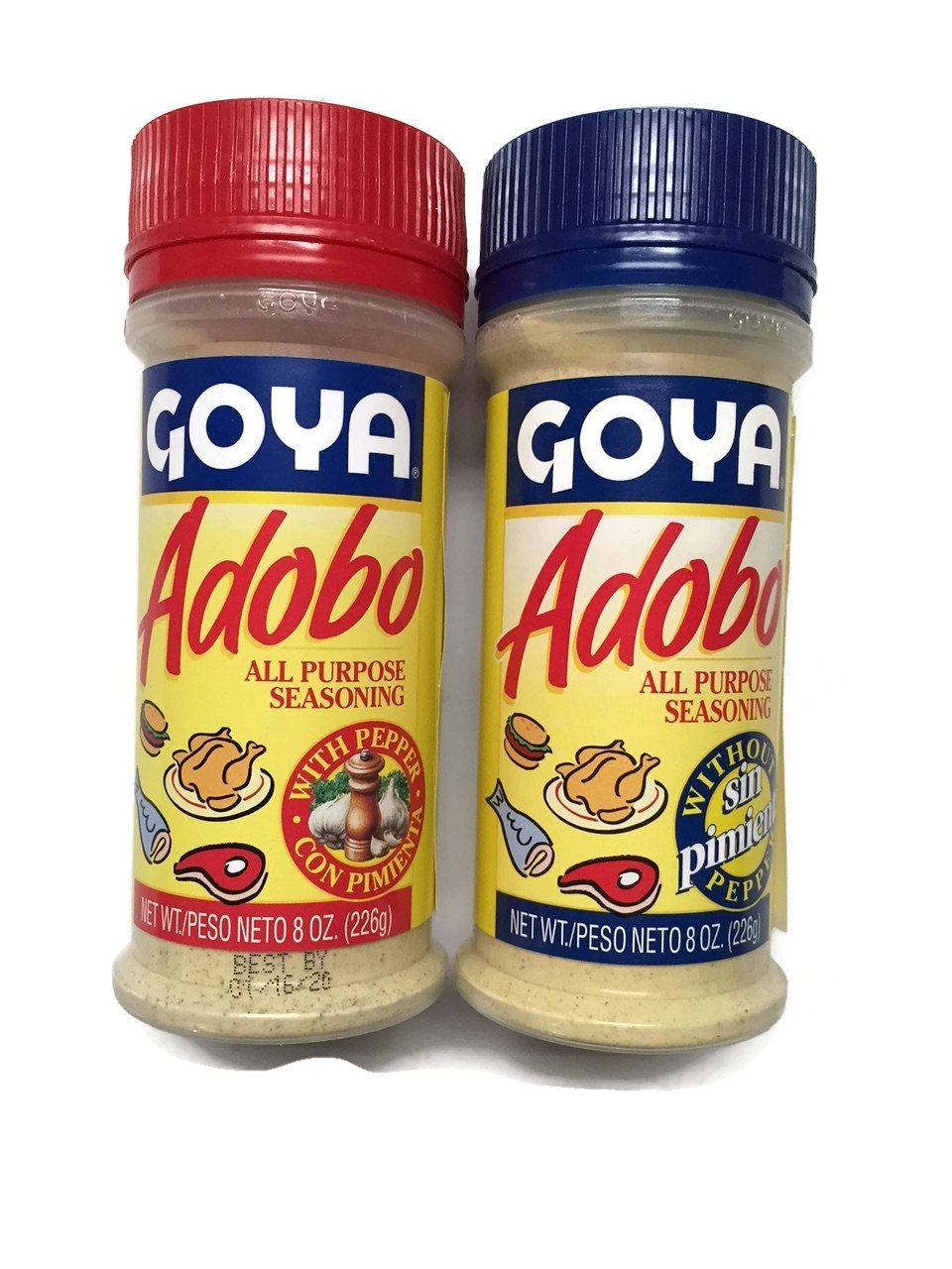 2-pack Goya Adobo All Purpose Seasoning, (1) with Pepper & (1) Without Pepper, 8-ounce [1 of Each]