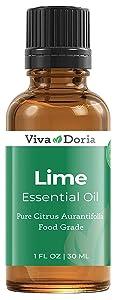 Viva Doria 100% Pure Lime Essential Oil, Undiluted, Food Grade, Mexican Lime Oil, 30 mL (1 Fl Oz)