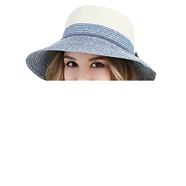 1ee3727ad3f Amazon.com  Ladies Wide Brim Beach Visor Blue Green Womens Foldable Sun  Straw Hats Ribbon Summer Fashion Floppy Uv Protect Cloche Hat  Clothing
