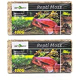 REPTI ZOO Natural Reptile Moss for Reptile Amphibian Insects Enclosures, Sphagnum Moss Terrarium Substrate Pack of 2 Pcs(100g