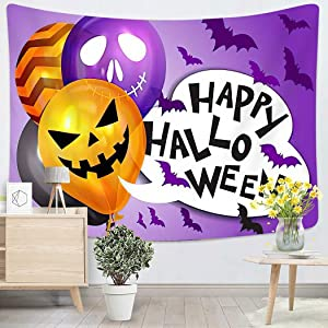 Trick Or Treat Happy Halloween Bunch of Ghost Balloons Bats and Hallowee Wall Tapestry Wall Hanging for Bedroom Dorm Living Room Outdoor Wall Art Decor - 50
