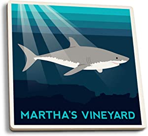 Lantern Press Martha's Vineyard, Massachusetts - Great White Shark - Vector Style (Set of 4 Ceramic Coasters - Cork-Backed, Absorbent)