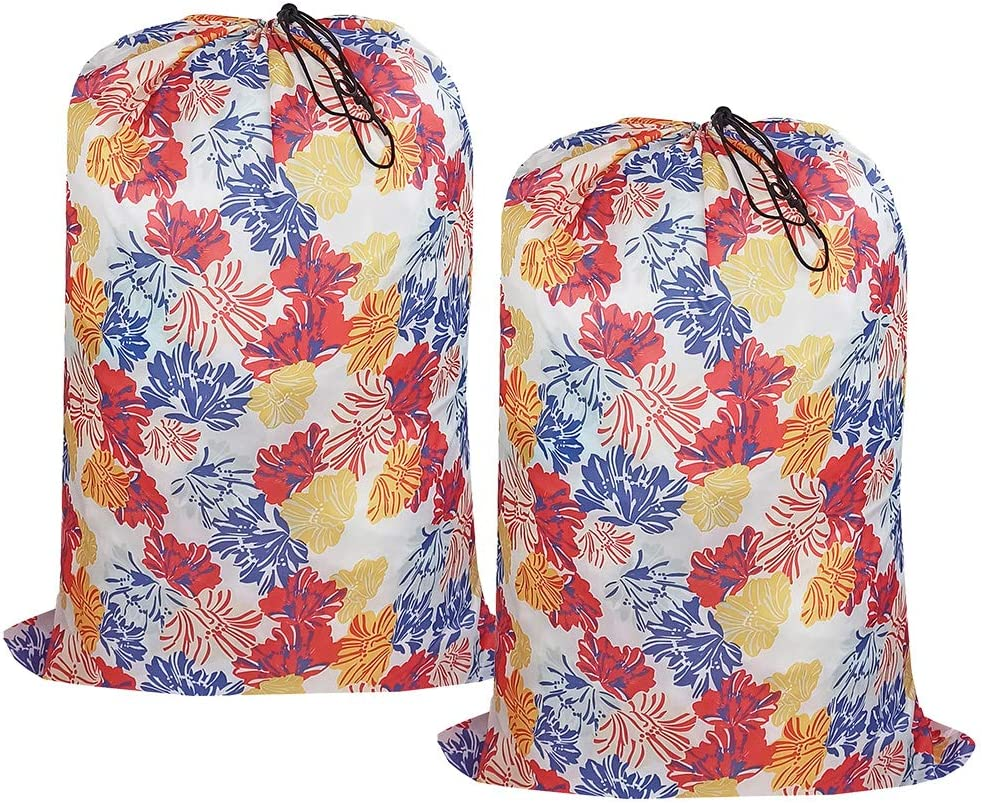 UniLiGis Washable Laundry Bag, (2 Pack) Dirty Clothes Hamper Liner with Drawstring Closure, Heavy Duty Rip-Stop Bag for Travel, Dorm, laundromat, 26x39 inches Blossom Print