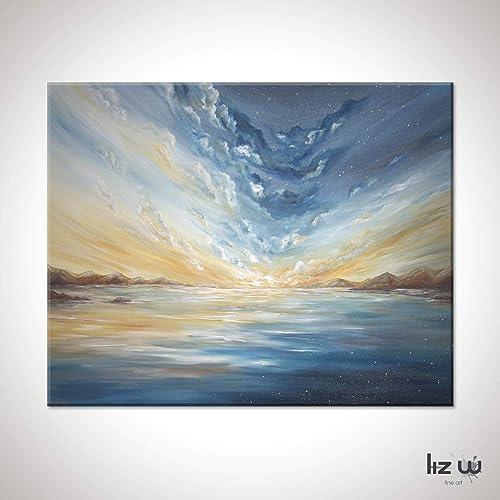 : Day Meets Night Ocean Painting, Horizon Ocean