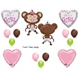 It's a Girl Monkey Wearing Diaper Baby Shower Balloons Decorations Pink Pacifier