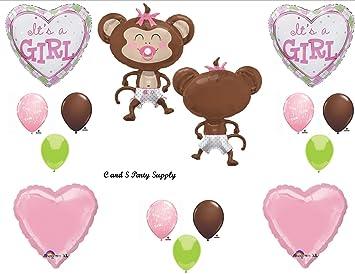 ES una niña mono con pañales bebé ducha globos decoración rosa ...