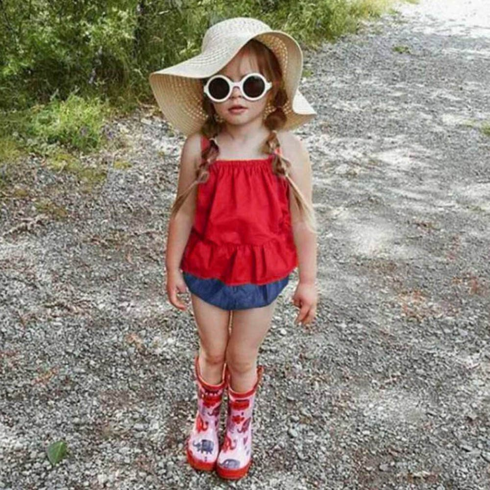 Lurryly 3Pcs Baby Girls Sleeveless Vest Solid Sun-Top+Shorts+Headbands Outfits Set 0-3 T