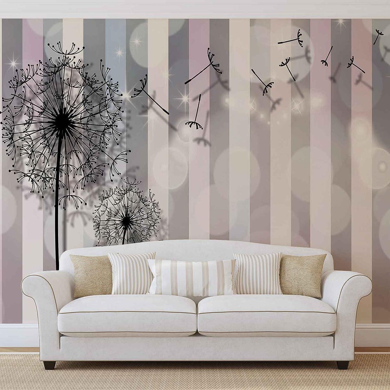 Flores Diente de león gris rosa foto pintado mural de papel ...