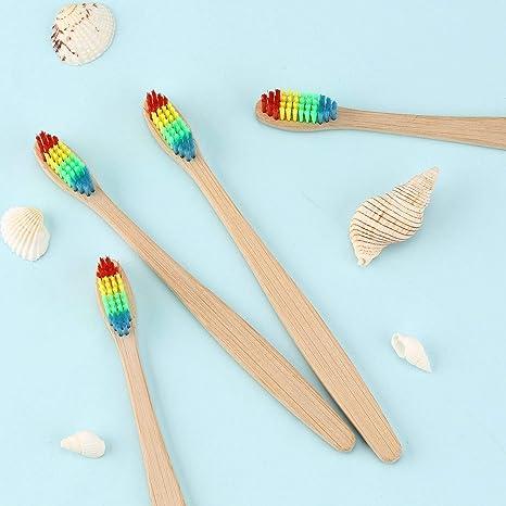 Medio ambiente Rainbow Cepillo de dientes de bambú Cuidado bucal con cerdas suaves Unisex