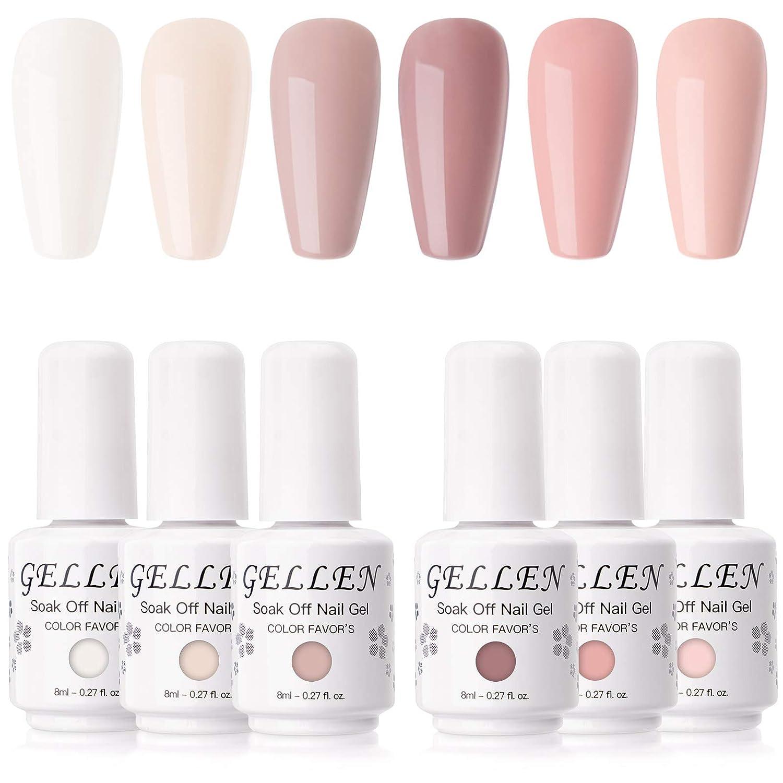Gellen Gel Nail Polish Kit- Blush Tones Series Natural Nudes 6 Colors, Pastel Pinks Gel Polish - Popular Nail Art Design Home Gel Manicure Set