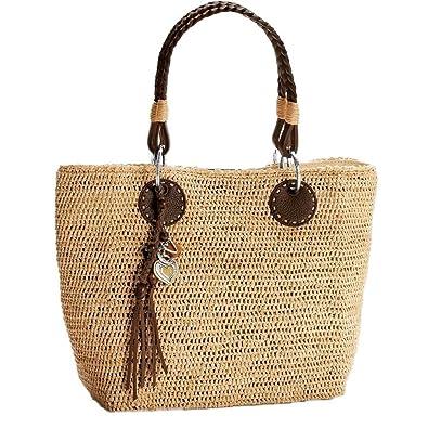 46dd27920adf Brighton Art   Soul Solana Raffia Natural Weave Leather Tote Satchel Handbag