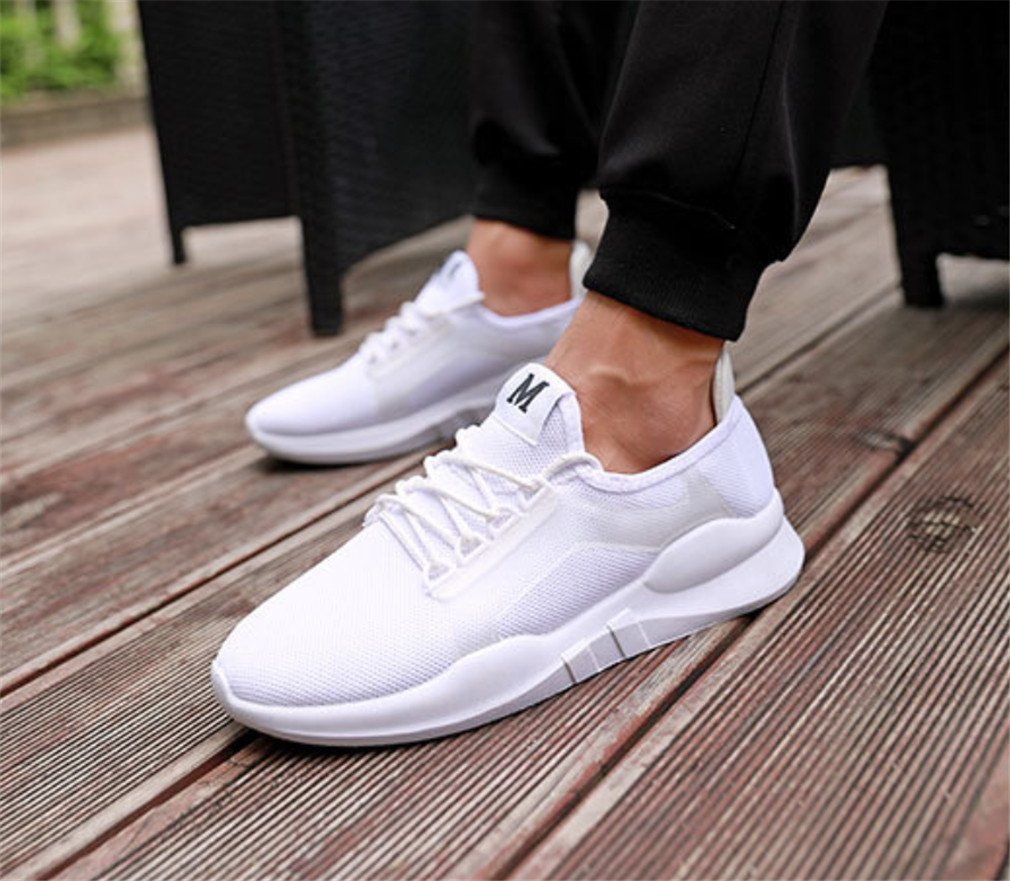 LUCKY-U Hommes Chaussures, Hommes Chaussures De Sport Running Sneakers Trainers Coussin d'air Fitness Athletic Walking Gym Blanc