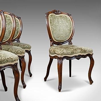 Juego de 4 sillas de comedor antiguas, victoriano, palisandro ...