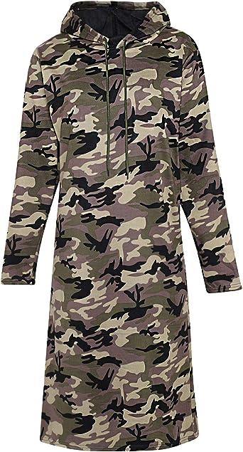 LOTMART Vestido de camisa de camuflaje con capucha para mujer