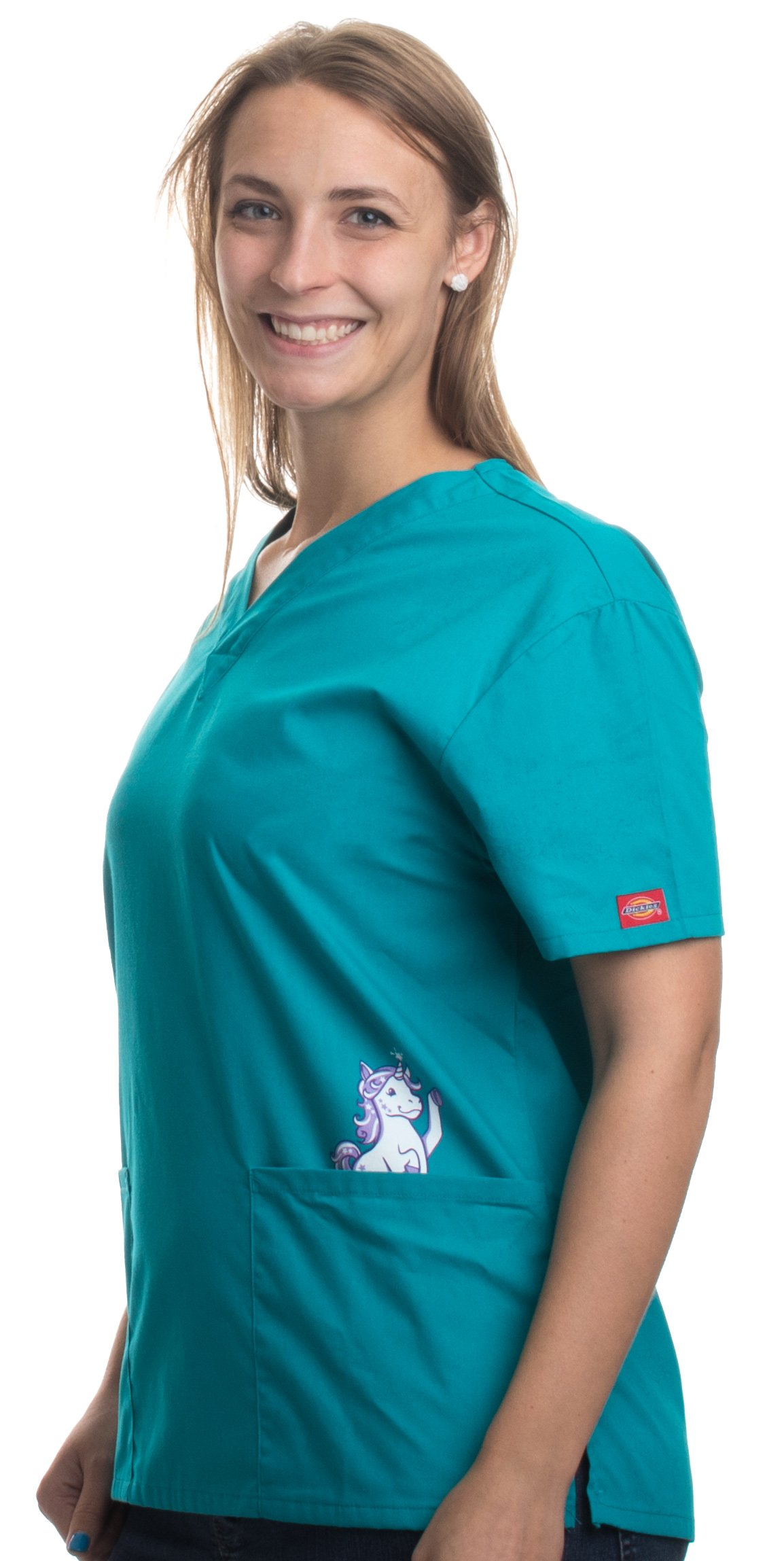 Cute Unicorn | Animal Character Print Pediatric Medical Uniform Scrub Top Women-(Scrub,XL)