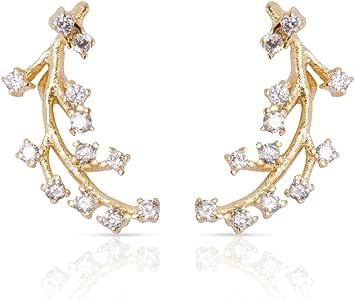 Ear Climber Earrings - Ear Crawler Gold Earrings For Women CZ Diamonds Cuff Earring Delicate Modern Jewelry Studs Dainty Crystal Ear Climbers Ear Cuffs Celebrity Approved