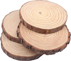 "Natural Pine Wood Slabs Untreated 5-6 inches Diameter x 3/5"" Thick Large 4 Pieces Solid Wood Slices for Weddings, Table Centerpieces, DIY Projects or Decoration"