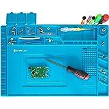 Spurtar Soldering Mat Heat Insulation Silicone Repair Mat Magnetic Soldering Station Anti-Static Desk, Electronics Repair Pad