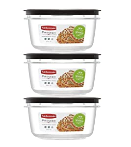 Rubbermaid Premier Food Storage Container, 5 Cup, Grey (3 Pack)