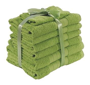 Highams de lujo 100% algodón egipcio 7 piezas Juego de toallas, color verde: Amazon.es: Hogar