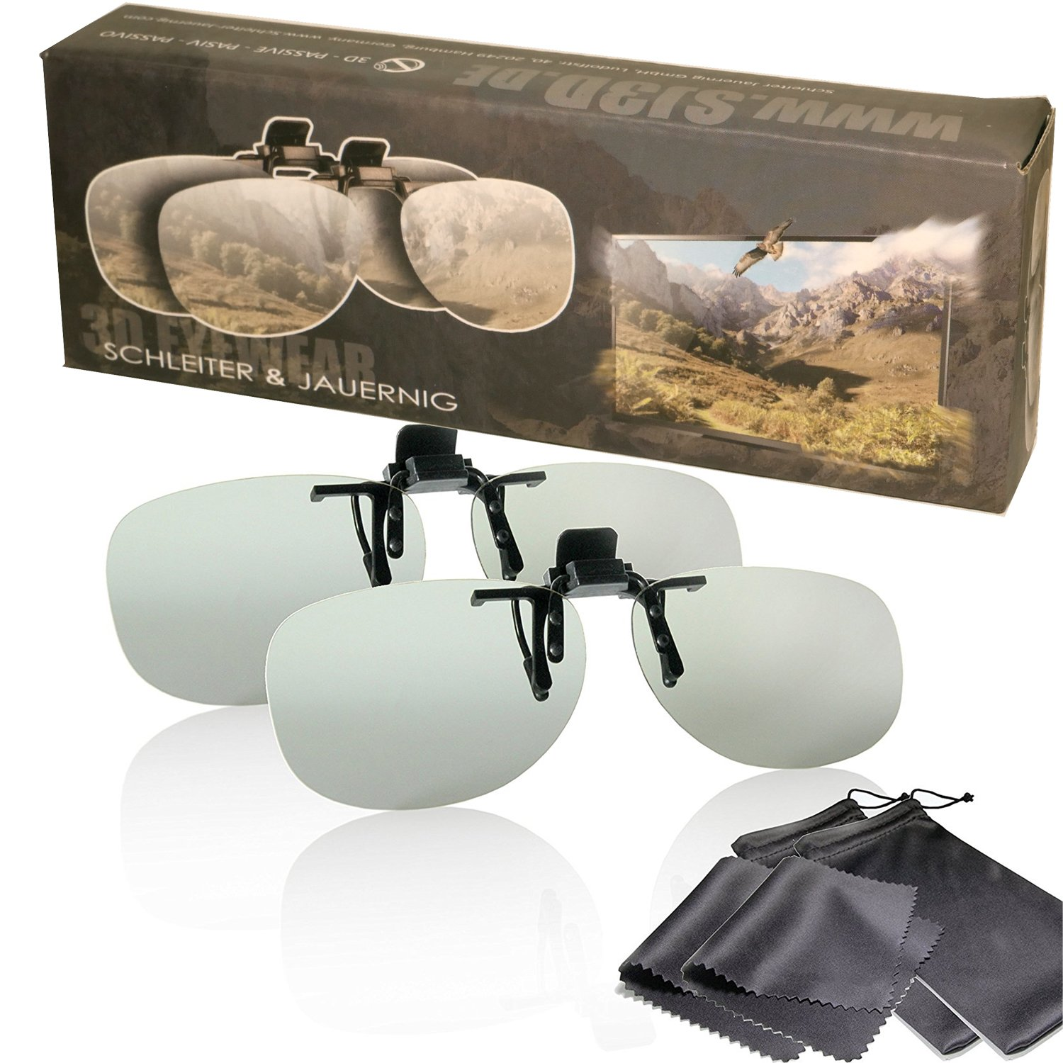 Aviator 3D Glasses with pouch Silver Metal Frame for RealD cinema use and passive 3D TVs such as LG Cinema 3D and Philips Easy 3D- circularly polarized