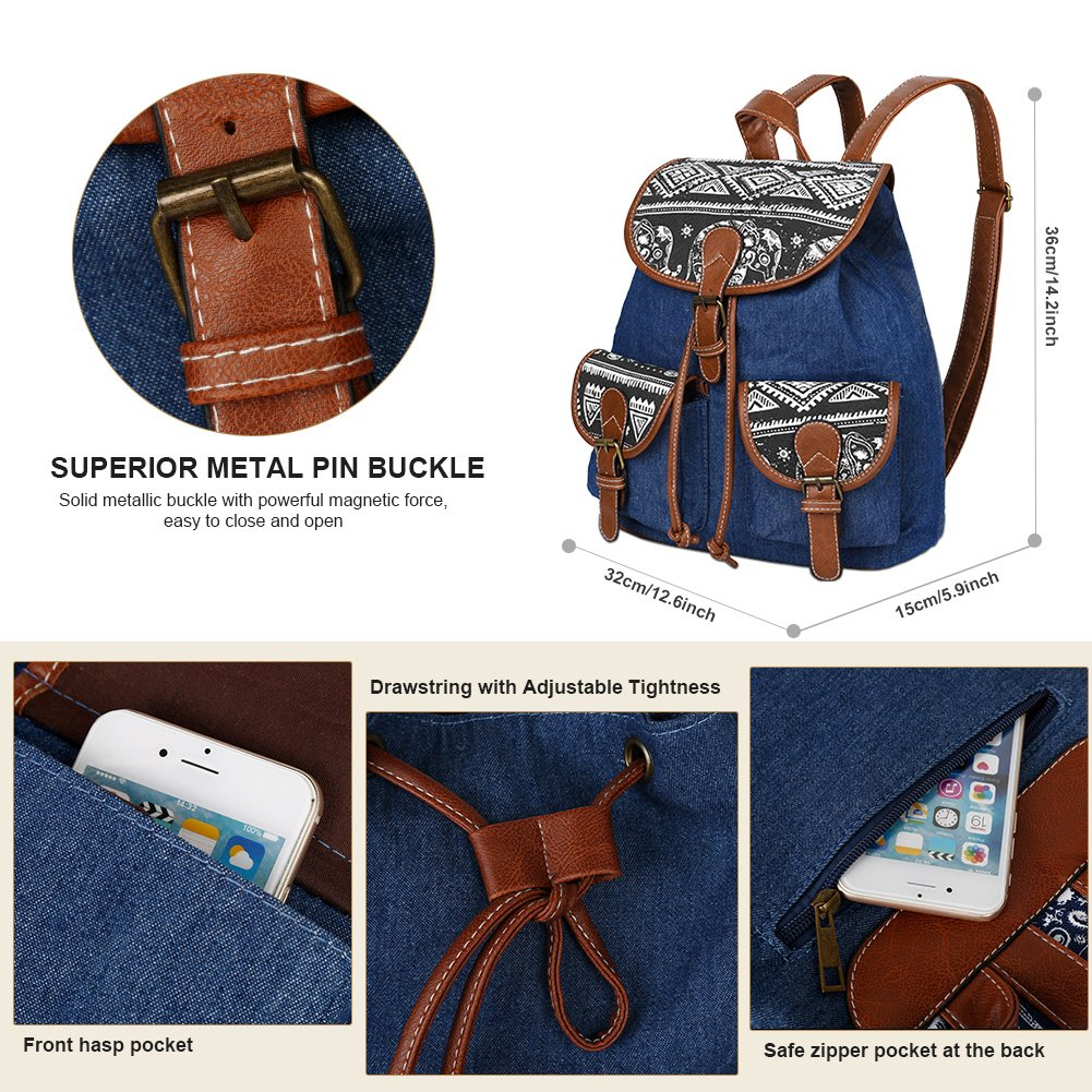 Vbiger Canvas Backpack for Women & Girls Boys Casual Book Bag Sports Daypack (Elephant Black1) by VBIGER (Image #4)