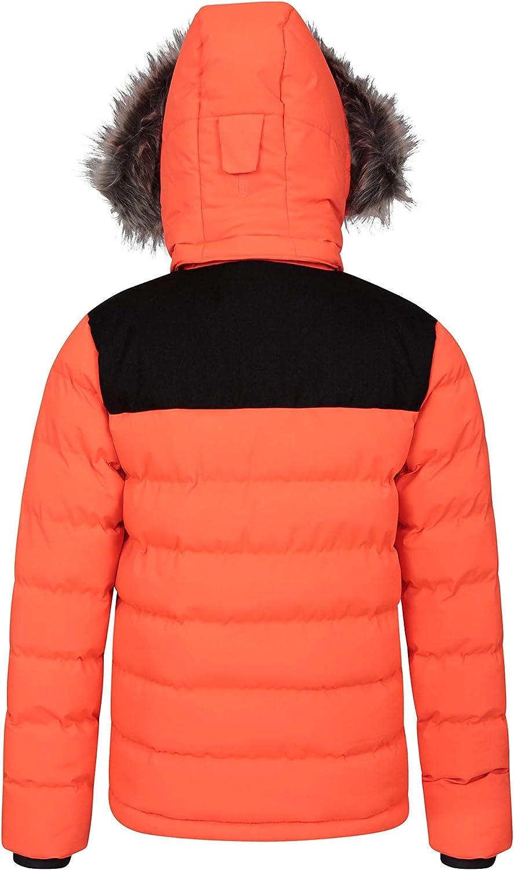 warm isoliert Skipass-Tasche Mountain Warehouse Snow Park Extreme Gesteppte Unisex-Skijacke mit Kapuze Seitentaschen Schneerock abnehmbar f/ür M/änner und Frauen