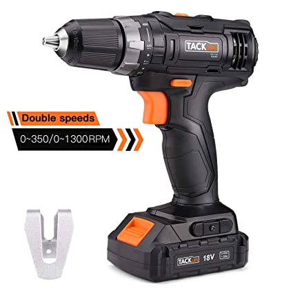 Cordless Drill, Tacklife PCD06C Drills 30Nm 18V 1500mAh Li-on 2-Speed Max  Torque, 19+1 Position with LED, 10mm Keyless Chuck Compact Battery Cell and