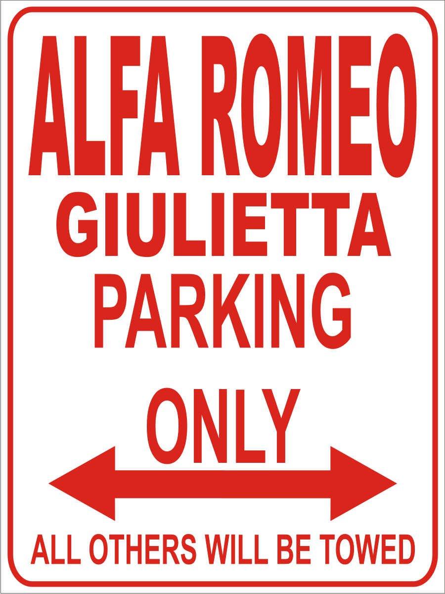 Parking Only- Wei/ß-Rot Alfa Romeo Giulietta 32x24 cm Parking Only Parkplatzschild Parkplatz INDIGOS Alu Dibond