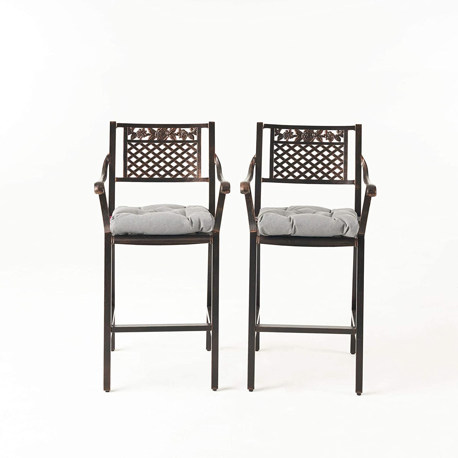Great Deal Furniture Emily Outdoor Barstool with Cushion (Set of 2), Shiny Copper and Charcoal