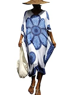 2544feb159 Ailunsnika Women Loose Kaftan Swimsuit Cover Up Beach Long Casual Caftan  Dress