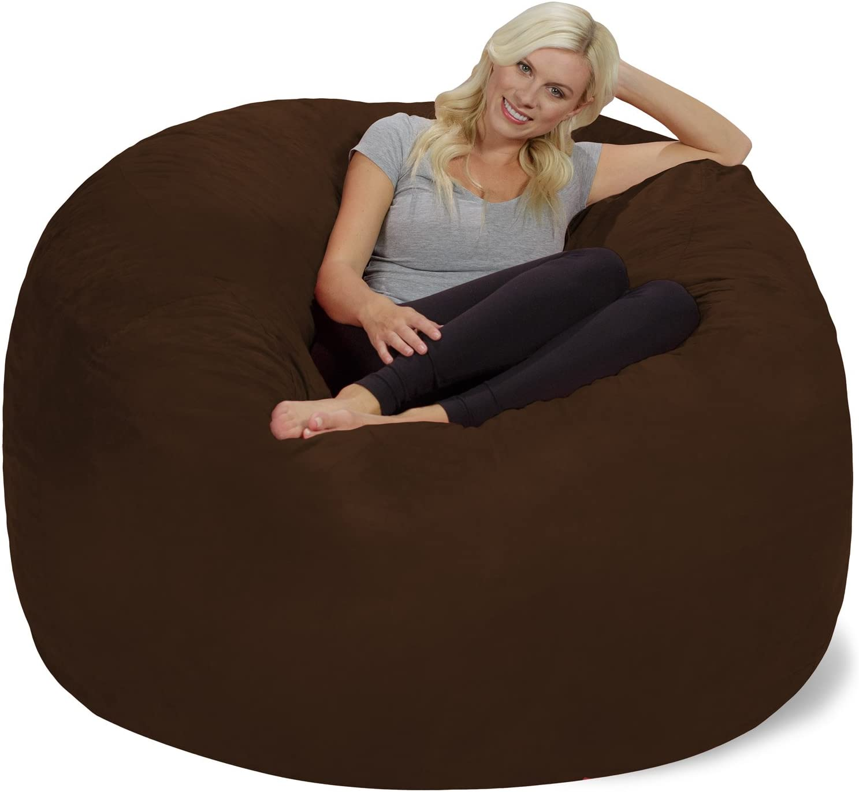 Chill Sack Bean Bag Chair: Giant 6' Memory Foam Furniture Bean Bag - Big Sofa with Soft Micro Fiber Cover, Chocolate