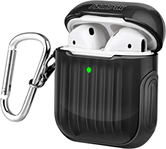 SZMDLX AirPods 2 & 1 Case, Protective AirPods Cover Skin, Portable Soft TPU + PC AirPods Case Accessories with Keychain for Apple AirPods Wireless and Wired Charging Case, Front LED Visible (Black)