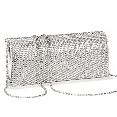 c9b11f48f3f New SILVER CRYSTAL DIAMANTES EVENING CLUTCH WEDDING BAG: Amazon.co ...
