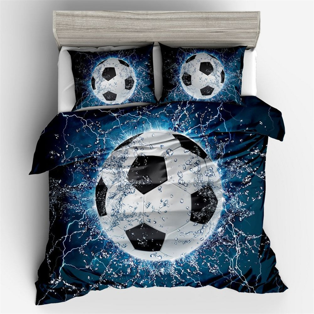 Jameswish Bedding 3D Football Duvet Cover Sets For Kids Thin Breathable Polyester Bed Linen For Summer 3-Piece Including 1Duvet Cover 2Pillowshams King Queen Full Twin Size