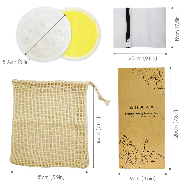 AGAKY Tampons Démaquillants Fibre de Bambou 12pcs Lingette Demaquillant Lavables Réutilisable Biologique en Coton avec Sac à Linge et Sac de Rangement